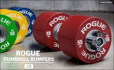 Rogue& new Dumbbell Bumpers - designed to fit the Rogue Loadable Dumbbell Handes and What do you think of this innovative new product? Crossfit Equipment, Home Workout Equipment, Training Equipment, Diy Home Gym, Gym Room At Home, Gym Workouts, At Home Workouts, Wod Workout, Training Workouts