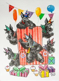 Original watercolour painting with partying scotties! Painted on A4 format high quality hard watercolour paper. Artist: Martynas Juchnevicius