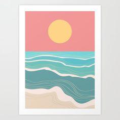 Crashing Wave On Sunny Bay Art Print by Picomodi - X-Small Easy Canvas Art, Simple Canvas Paintings, Small Canvas Art, Cute Paintings, Mini Canvas Art, Posca Art, Watercolor Paintings, Painting & Drawing, Beach Art