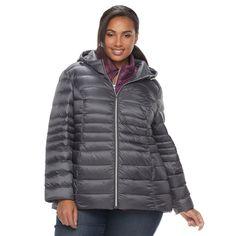 Plus Size d.e.t.a.i.l.s Down Vest & Jacket Set, Women's, Size: 1XL, Grey