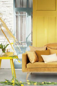 Funda de cojín estampada - White/Mustard yellow - HOME | H&M ES 1
