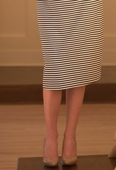 Modest Fashion | Modest Bridesmaid Dresses | Black and White Stripe Pencil Skirt