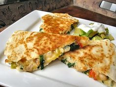 Someone's in the Kitchen: Chicken, Spinach and Cannellini Bean Quesadillas