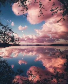 Pink clouds in lake water - Landscape Paint By Numbers – Numeral Paint Aesthetic Backgrounds, Aesthetic Wallpapers, Landscape Wallpaper, Landscape Paintings, Landscape Pics, Landscape Sketch, Sky Landscape, Fantasy Landscape, Landscape Lighting