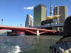 Sky Tree on the beer head, from Sumida river