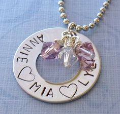 Mothers Necklace , Washer Necklace , Personalized, Hand Stamped, With Childrens Name and Birthstone or Pearl on Etsy, $29.00
