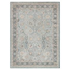 Aimee French Antique Soft Blue Scroll Rug - 3'7x5'7 | Kathy Kuo Home