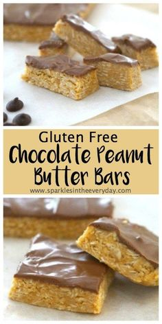 Gluten Free Chocolate Peanut Butter Bars! Easy to make, no baking needed and they are so delicious!