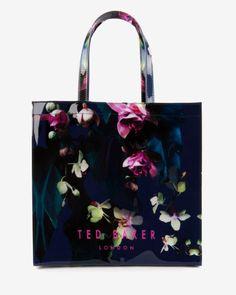 Large Fuchsia Floral shopper bag - Dark Blue | Bags | Ted Baker UK