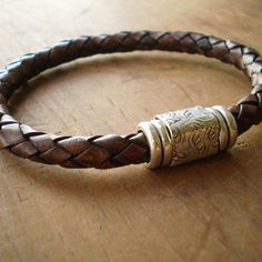 Leather Bracelet Brown 6mm Braided Leather Bracelet with Magnetic Clasp