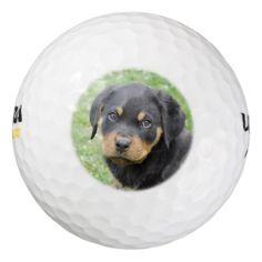 #Doggy McDogface Rottweiler Puppy Golf Balls - #rottweiler #puppy #rottweilers #dog #dogs #pet #pets #cute
