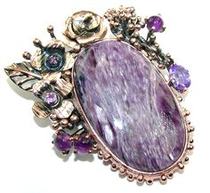$94.85 Purple+Garden+AAA+Purple+Siberian+Charoite+&+Amethyst,+Rose+Gold+Plated,+Rhodium+Plated+Sterling+Silver+Pendant at www.SilverRushStyle.com #pendant #handmade #jewelry #silver #charoite