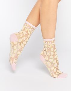 Image 1 ofMonki Sheer Effect Leopard Print Socks
