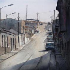 Watercolor 100 x 100 cm. Fast Painting Contest Bolaños de Calatrava 2012