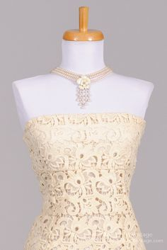 1980's Strapless Embroidered Lace Vintage Wedding Dress