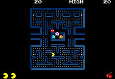 1980 - Pacman  Juego ícono de los 80`. Pacman come puntos y frutos rojos en un laberinto a la vez que evita ser comido por los fantasmas.