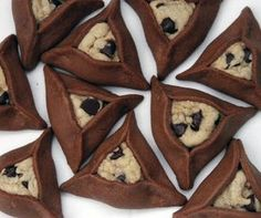 I wish I'd seen this LAST week! Chocolate chip cookie stuffed chocolate hamantaschen (bakeologybylisa.com)