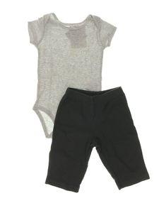 Conjunto Body Cinza Listrado Calça Cinza Chumbo Infantil