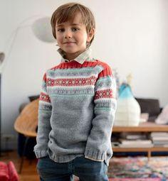 Breipakket jongens trui van Phildar met gratis het breipatroon