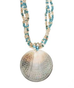 Mother-of-Pearl & Turquoise Etched Shell Beaded Pendant Necklace