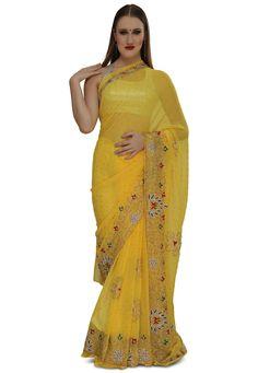 Sarees for women Sari Ships from USA Ethnic wear Kavya/'s Boutique Saree Yellow and Sea Green Semi Banarasi Muslin Saree