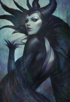"""Maleficent by Stanley """"Artgerm"""" Lau She is an archetype trickster who totally reminds me of someone...hum, maybe the raven has something to do with that one."""