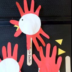 "Letter of the week - ""R"" is for Rooster. Traced hands cut out, a circle, two triangles glued behind & a drawn eye, with a tongue depressor glued behind. Fun!"