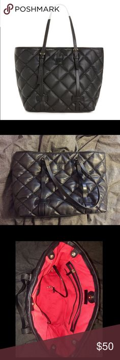 Quilted Dooney East West Spicy Tote Really cute and unique bag. Black with red lining, some staining in lining which is shown in picture. Bag is still in good condition overall. Dooney & Bourke Bags Totes