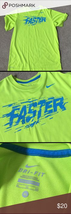"Neon Green ""Faster"" Tee 100% polyester. SD Nike Shirts & Tops Tees - Short Sleeve"