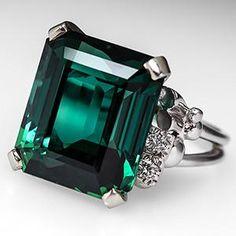Vintage Emerald Cut Tourmaline Cocktail Ring 14K White Gold - EraGem