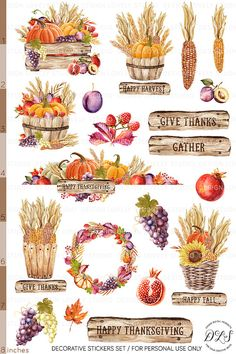 Make this your best Thanksgiving with these Bullet Journal page ideas. Bring holiday fun to your pages and use BuJo to help you organize the big dinner. Autumn Illustration, Watercolor Illustration, Watercolor Art, Journal Stickers, Planner Stickers, Happy Thanksgiving Sign, Fall Clip Art, Watercolor Stickers, Chalkboard Art