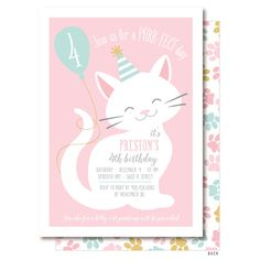 Cat Invitation Pink Cat Birthday Party Printable by DelightPaperie