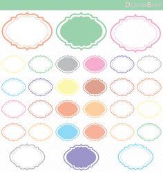 30 Pastel Digital Frames, Pastel Clip Art, Pastel Basic Frame, Digital Clipart…