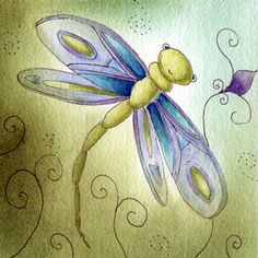 dragonfly watercolor painting by Martina Loos, via Flickr