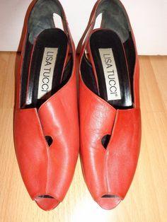 Vintage Pumps - Schuhe*Vintage*80er*Peeptoes*rot*rost* - ein Designerstück von…