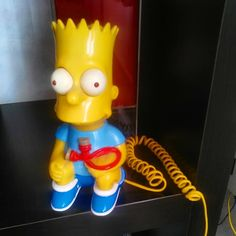 had to get old Bart out today, my cordless landline phones are kaputt! The Simpsons, Getting Old, Telephone, Bart Simpson, Cord, Pop Art, Communication, Phones, Yellow