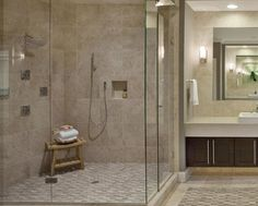 treat yourself to a large and luxurious open shower that makes your master bath feel like