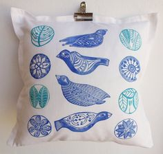 cushion pillow blockprint Birds  cobalt blue sky by cushioncushion, $55.00