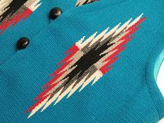 オルテガ 手織りチマヨ・ベスト 83RG-38328 サイズ38 ターコイズブルー アメリカ製