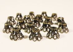 Dark Bronze Bead Caps 5x6mm Deep Antique by BusyBeeBeadSupplies, $2.95