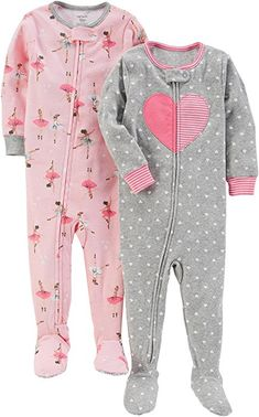 Carter's Baby Girls' Cotton Footed Pajamas, Ballet/Heart, - Pack of 2 snug fit footed cotton pajamas, zip from chin to ankle with built in gripper footies Baby Girl Pajamas, Carters Baby Girl, Toddler Girl, Baby Girls, Toddler Stuff, Cute Baby Girl Outfits, Cute Outfits For Kids, Cute Baby Clothes, Babies Clothes