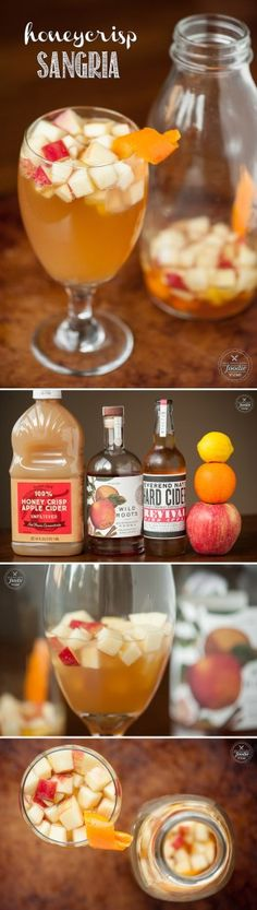 My easy, delicious, and perfect for fall Honeycrisp Sangria is made with the most incredible locally produced apple cinnamon infused vodka and hard cider. View the full recipe in the original w Halloween Appetizers, Halloween Drinks, Halloween Coctails, Halloween Party, Halloween Punch, Fun Drinks, Yummy Drinks, Beverages, Cold Drinks
