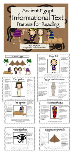 This series of 9 Informational Text Posters written in simple language will help your students learn basic facts about various topics of Ancient Egyptian history. Key vocabulary is highlighted in bold text, so students can identify the content words.    Topics include:    King Tut  Cleopatra  Egyptian Pyramids  The Great Sphinx  Hieroglyphics  Mummies  Sarcophagus  Camels  Ancient Egyptian Cats    I've also included a cover page and a scavenger hunt.