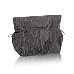 New Day Tote in City Charcoal Swiss Dot for $82 - This roomy tote is perfect for the gym, beach or busy mom. The two exterior cinch pockets are great for drinks, bottles or everyday items. Via @thirtyonegifts