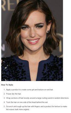 This side-parted long bob with easy waves and one side tucked behind the ear is totally on trend for spring.