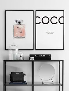 Posters with Chanel perfume, lips, etc.