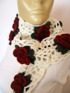 NEW Crocheted Flower Scarf by knittingFashion on Etsy, $32.00