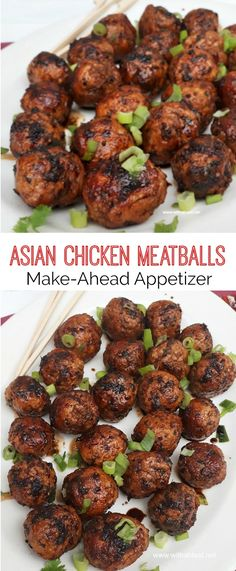 Slightly spicy, juicy Asian Chicken Meatballs, with a salty/sweet glaze are perfect to serve as an appetizer or as part of your savory party platter - make-ahead friendly recipe #makeahead #appetizers #meatballs #chicken #chickenmeatballs