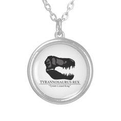 Tyrannosaurus Rex Skull Silver Plated Necklace #dinosaurs #jurassic #trex #tyrannosaurus #rex