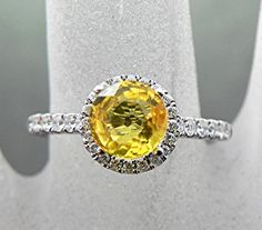 Round Natural Yellow Sapphire 6.50mm 1.47ct in by mastergoldcraft
